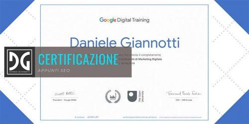 Certificato corso Digital Marketing